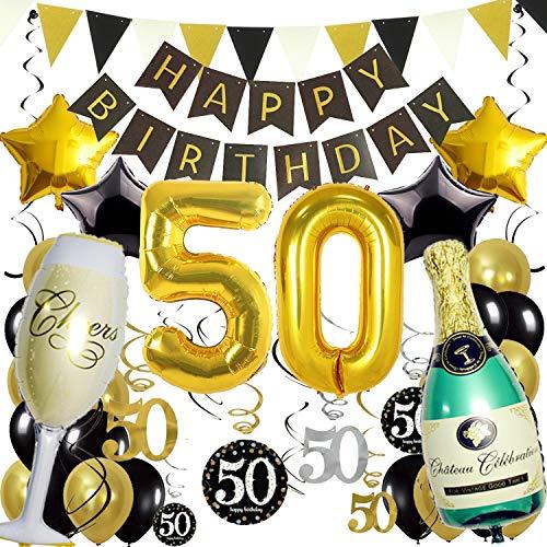 Zerodeco 50. Geburtstag Dekoration, Schwarz Gold Happy Birthday Banner 50. Nummer Goldfolien-Ballone Champagnerflaschen sternförmige Folienballon Hängende Strudel Dreieckige Wimpel Party Zubehör Set