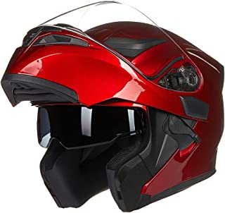 ILM Motorcycle Dual Visor Flip up Modular Full Face Helmet DOT 6 Colors (XL, RED)