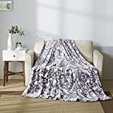 All American Collection Super Soft Ultra Comfort Plush Microfiber Solid Throw Blanket for Couch Home Bedroom Living Room (Queen, Beverly White/Lavander)