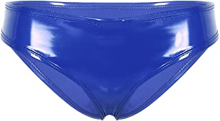 Oyolan Womens Shiny Metallic Low Rise Bikini Briefs Panties High Cut Thong G-String Lingerie