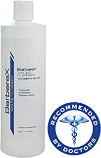 BerbereX Antimicrobial Wound Cleanser for Cuts, Scrapes, Burns, Incisions, Wounds, Wound Care, First Aid Antiseptic Spray, Pressure Sores, Bed Sores, Diabetic Ulcers, Skin Wash and Rinse - 16 oz.