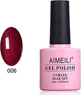 AIMEILI Soak Off UV LED Dark Burgundy Red Gel Nail Polish Shimmer - Cherry Blossom (006) 10ml