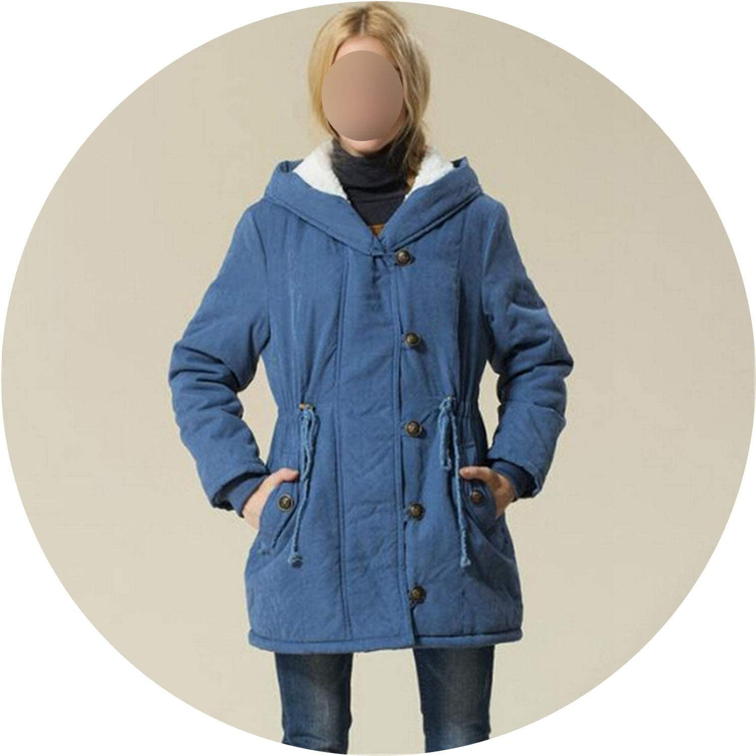 colorfulspace Plus Size Women Winter Jackets Cotton Padded Version Long Section Cashmere Coat Winter Jackets