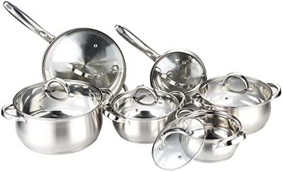 Heim Concept Kitchen Cookware Set W-001 12-Piece Stainless Steel Pots and Pans Set, Cooking Set with Glass Lid