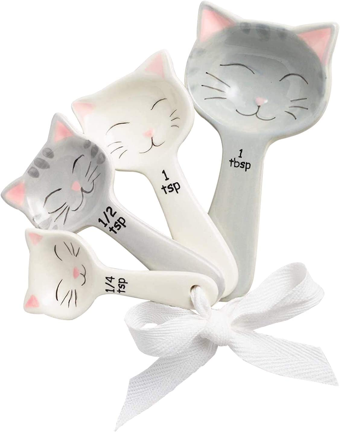 Cat Shaped Ceramic Measuring Super Special SALE held Spoons with Ribbon Max 47% OFF C for - Tie Gift
