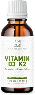 Dr. Amy Myers Vitamin D3 K2 Liquid Drops - 5 Drops Contain 5000 IU VIT D3, 50 MCG Vitamin K2 MK-7 - Support Immune System ...