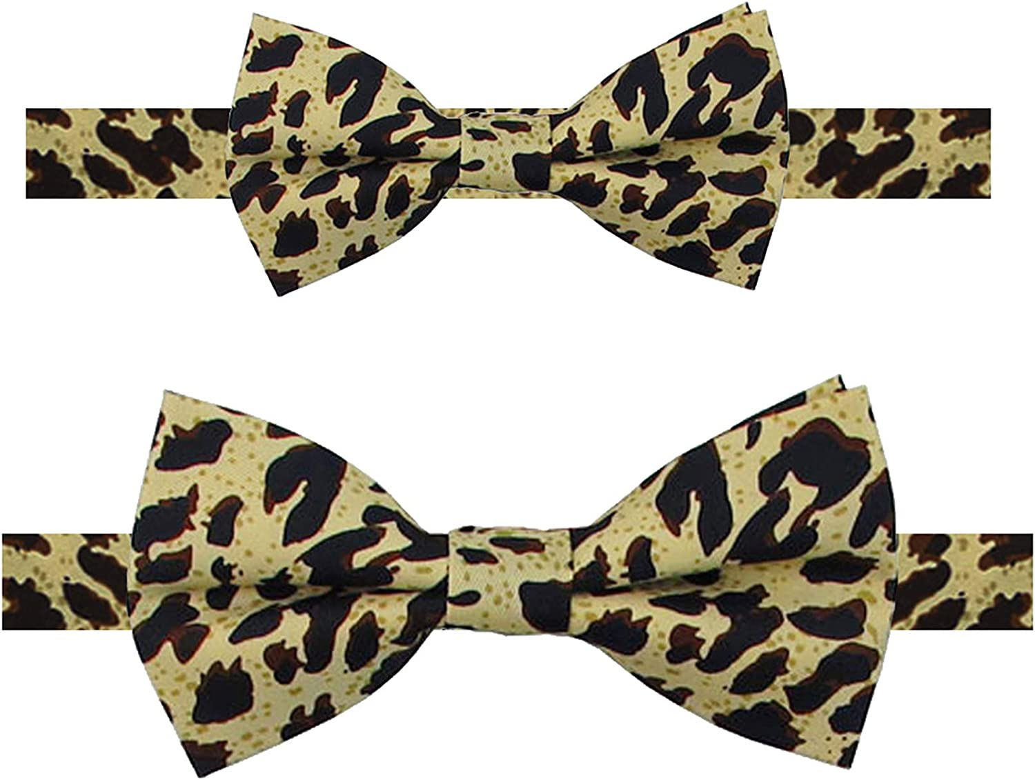 Jacob Alexander Father and Son Matching Leopard Animal Print Pre-Tied Banded Bow Tie Set