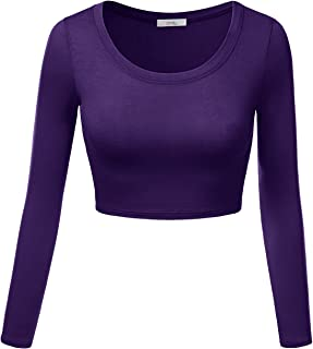 5a04bf50178a1 Simlu Womens Crop Top Round Neck Basic Long Sleeve Crop Top with Stretch  Reg and Plus