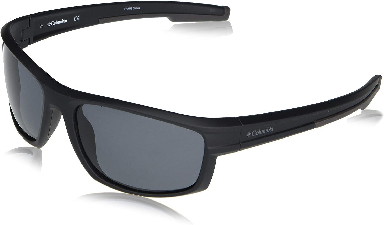 Columbia Men's Mountainshyre Rectangular Sunglasses, Matte Black/Smoke Polarized, 63 mm