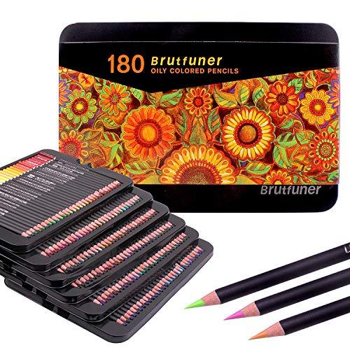 Juego de 180 lápices de colores premium con caja de almacenamiento de metal, perfecto para libros de colorear de adultos, estudiantes o niños suministros de arte escolar.