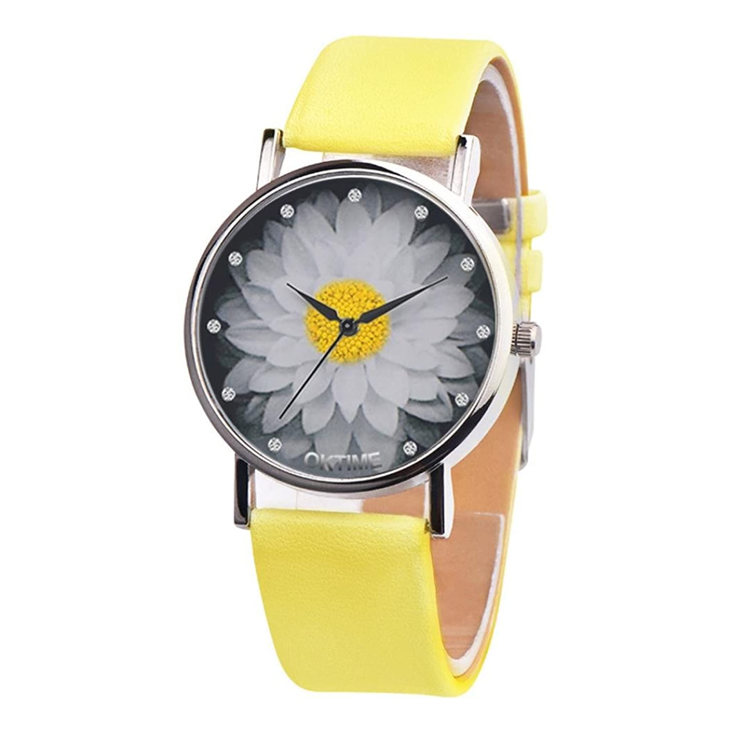 Swyss Women Elegant Lotus Watch Leather Analog Quartz Round WristWatches Chic Charm Accessories New HOT Fashion (Yellow)
