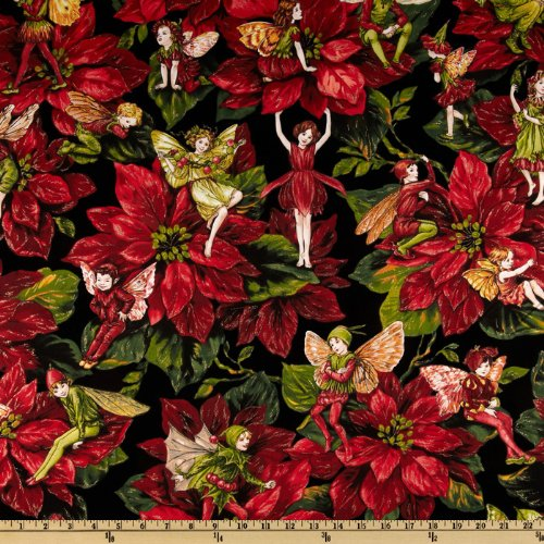 Michael Miller Christmas Flower Fairies Red Fabric by The Yard