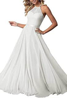 Jonlyc 2019 Halter A Line Prom Bridesmaid Dresses Long Chiffon Formal Party Gowns