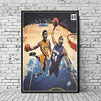 キャンバス塗装 ぶら下げ画 コービー・ブライアントのポスターザ・ブラックマンバBaskerballプレーヤーMVPスーパースターギフトウォールアート装飾油絵ポスタープリントキャンバス (Color : Picture 4, Size (Inch) : 60x80 cm No frame)