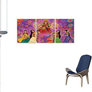 WinfreyDecor Bengal Modern Canvas Painting Wall Art Asian Woman in Colorful Dress Cartoon Style Figures on Paisley and Flower Backdrop Union Stickers 16