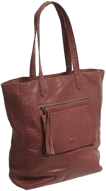 Day and Mood Warm Brown Leather Heather Tote Handbag