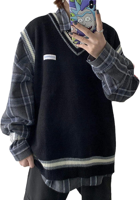 Sweater Vest Men V-Neck Knitted Couples Oversize Harajuku Vests Ins Chic Korean Style Leisure (Black,XL)