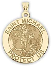 PicturesOnGold.com 14K Yellow Gold Saint Michael Religious Medal - 1 Inch Size of a Quarter