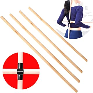 Fansport 2PCS Wooden Sticks Straight Hard Wood Smooth Stretching Sticks with Stick Buckle for yoga stretching sticks