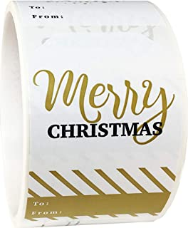 Christmas Gift Tags Holiday Present Stickers Merry & Bright 4 Different Designs 2 x 3 Inch 100 Total Labels