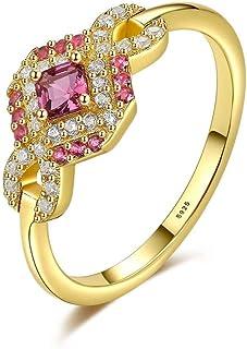 Anello in argento 925 femminile retrò rosa zirconio bowknot anello placcato oro 18 carati coda anello