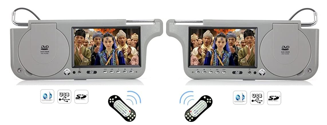 PAIR GRAY SUNVISOR VISOR LCD MONITORS WITH BUILT IN DVD PLAYERS, USB AND SPEAKERS