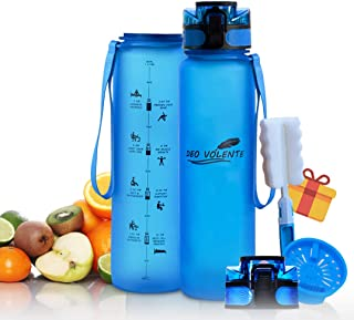 DEO VOLENTE 1L Motivational Drink Bottle, BPA Free, Eco-Friendly, and Light Weight Material with Fruit Infusion Sieve, Wat...