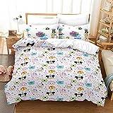 Kids Comforter Bedspread 3D Printed Cartoon Movie Bedding Sets Tsum-Tsum Duvet Cover Set 1xDuvet Cover and 2xPillowcases