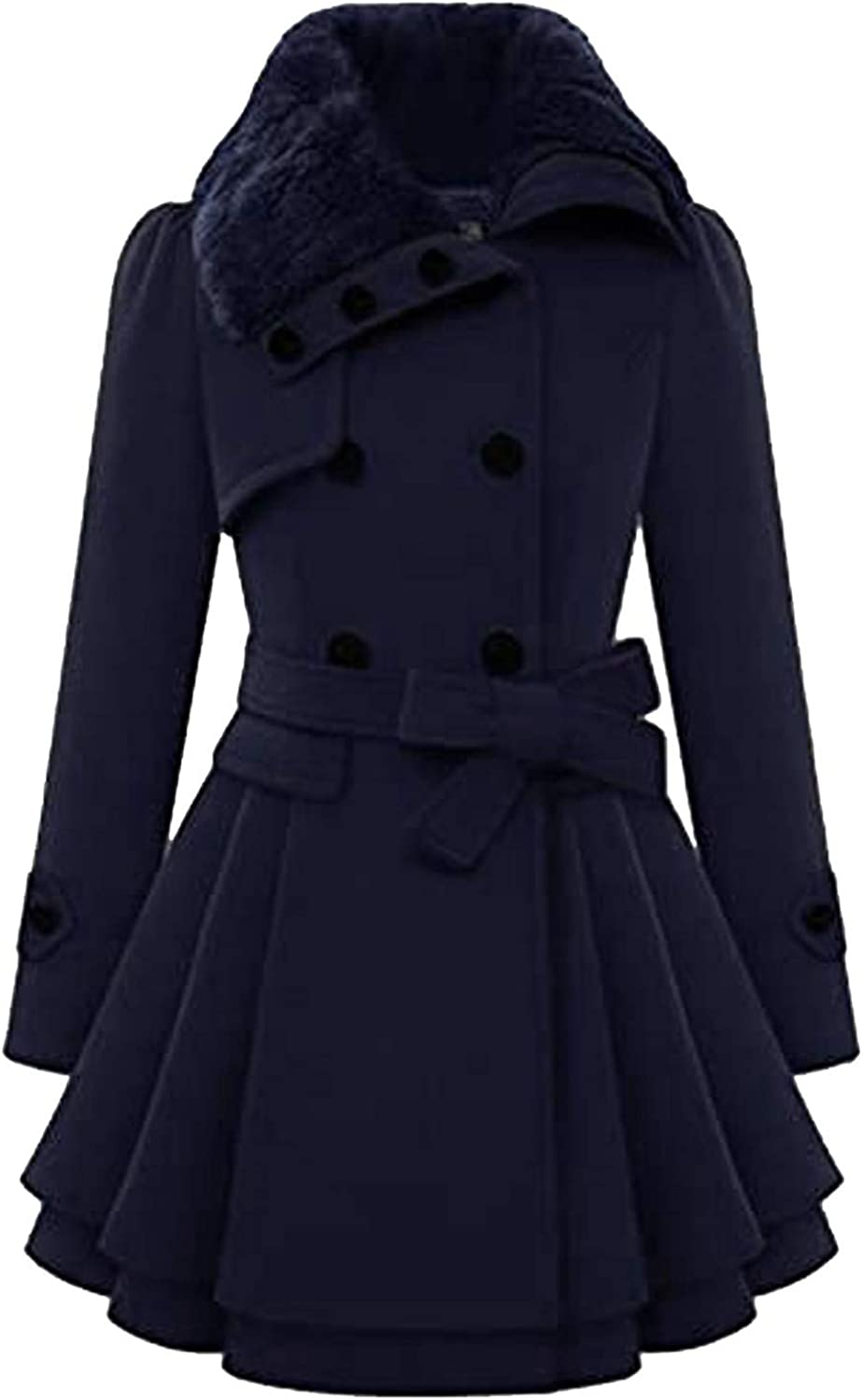 SSYUNO-women tops Womens Faux Fur Lapel Double Breasted Pea Coat Fashion Winter Thick Wool Trench Coat Jacket with Belt