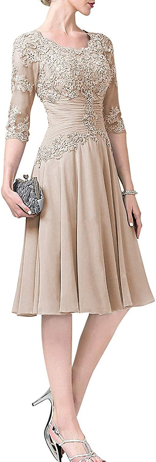 Mother of The Bride Dresses with Sleeves Wedding Dresses Chiffon Mother Dress Lace