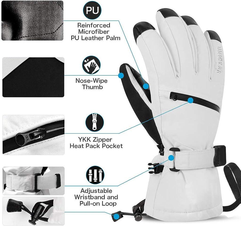3M Thinsulate Snowboard Gloves Touchscreen Anti Slip Unisex Winter Gloves for Outdoor Sports Unigear Waterproof Ski Gloves