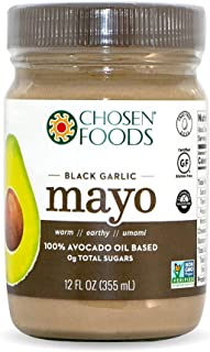 Chosen Foods Avocado Oil Mayo Black Garlic 12 oz., Non-GMO, 100% Pure, Unsweetened, Gluten Free, Dairy Free for Sandwiches, Dressings, Sauces and Recipes