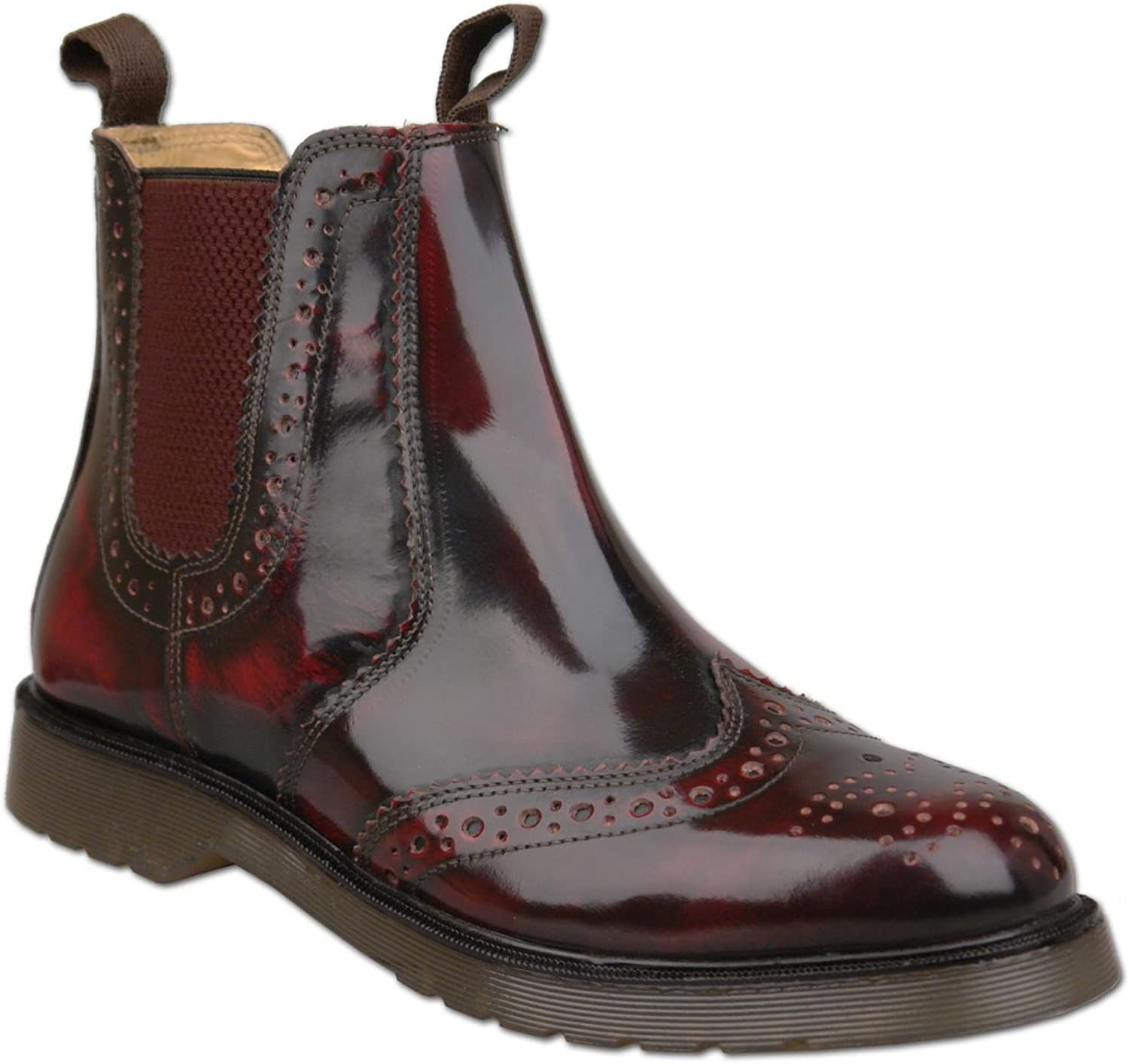 TSG PATERSONS Mens Oxblood Brogue Slip On Chelsea Boots
