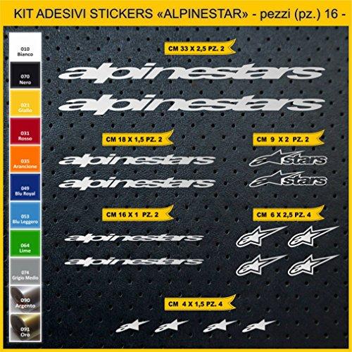 Stickers vélo ALPINESTAR Kit Stickers 16 pièces – Choisir immédiatement Colore- Bike Cycle pegatina Cod.0821 (090 Argento)
