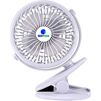 Mini Desk Fan, Glovion Clip-on Stroller Fan, 2600mAh Rechargeable Battery Clip Fan, 360 Adjustable Wind, Personal Clip or Desk Fan with Speeds Settings, Indoor& Outdoor Personal Cooler - White