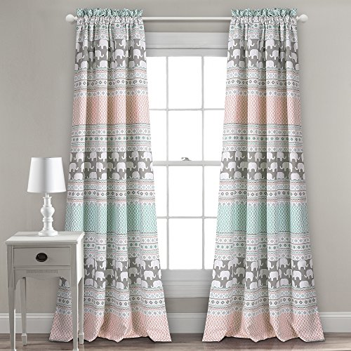 "Lush Decor Elephant Stripe Curtains Pattern Room Darkening Window Panel Set for Living, Dining, Bedroom (Pair), 84"" x 52"", Turquoise & Pink"