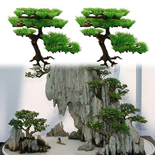 Demiawaking Künstliche Pflanze Aquarium Rockery Bonsai Hotel Ornament Deko
