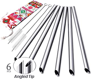 Set of 6 Stainless Steel Boba Straws with Cleaning Brush & Angled-Tip with Carry Bag by Teivio, Jumbo Drinks Wide Bubble Tea & Smoothie Metal Straw for Drinks, 12mm/0.5