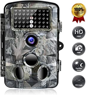 Cámara de juego FUNSHION Trail, cámaras de 16MP 1080P Trail con visión nocturna activada por movimiento Impermeable IP66 2.4 '' LCD Caza de exploración de caza para monitoreo de vida silvestre Alcance de detección de 120 ° 42 piezas IR LED