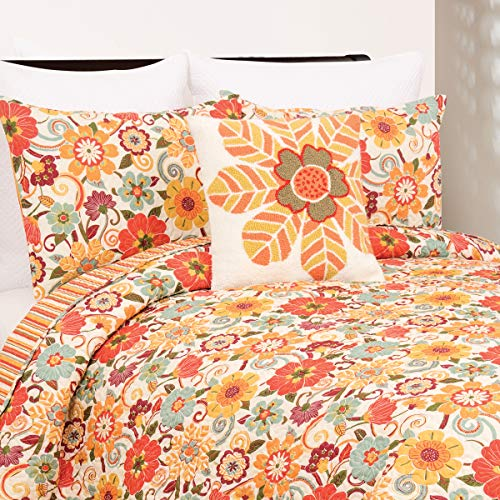 C&F Home Riley Bright Fun Retro Colorful Floral Full/Queen 3 Piece Reversible Machine Washable Sham Quilt Coverlet Set Full/Queen 3 Piece Set Orange