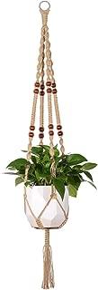 Mkono Macrame Plant Hanger Indoor Outdoor Hanging Planter Basket Jute Rope with Beads 4 Legs 48 Inch