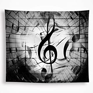 """Black and White Music Tapestry Wall Hanging Psychedelic Bohemian Mandala Indian Hippy Tapestry Art Home Décor for room Living Room Dorm 82.6""""X59"""""""