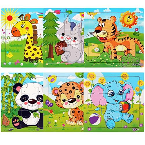 NEWSTYLE Rompecabezas de Madera, Animal Pattern Juguete de Madera Puzzle, 6x9 Piezas Puzzles de Madera, Rompecabezas de Animales Montessori Juguete - Educación y Aprendizaje Rompecabezas Juguetes