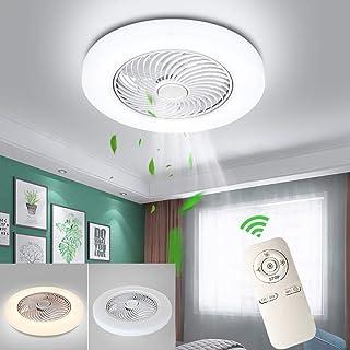 HYKISS Ventilador De Techo LED con Lámpara Moderno 72W Invisible Ultra Silencioso Velocidad del Viento Ajustable Luz del Ventilador Dormitorio Sala Restaurante Fan Iluminación (Ø52CM),Blanco