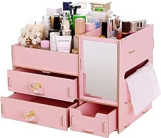伊耶那美(イザナミ) 化粧品 コスメ ジュエリー 収納 ボックス メイクボックス 木製 組み立て式(薄桃色)