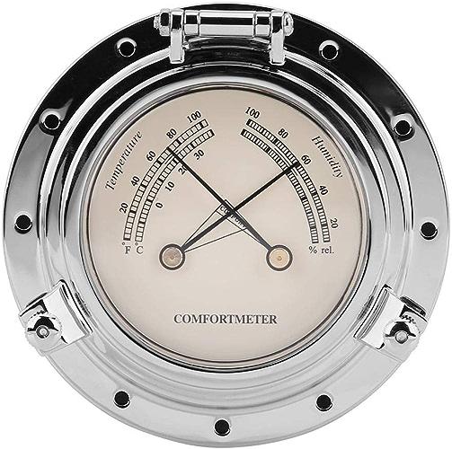 Compteur d'humidité de la température de l'horloge de baromètre rétro de Rome pour le bateau SUV marin de yacht de RV(Argent)