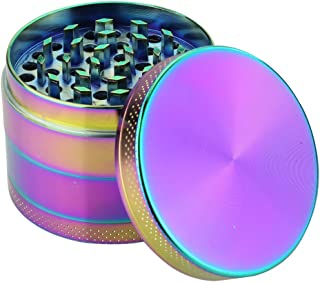 DCOU Rainbow Herb Grinders 2.2 Inches 4 Parts Zinc Alloy Pollen Grinder Colorful Metal Grinder