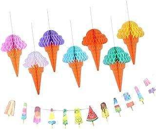 Glassdekorsuppsättning (Honeycomb Ball Banner) Födelsedag Sommardekor Photo Props