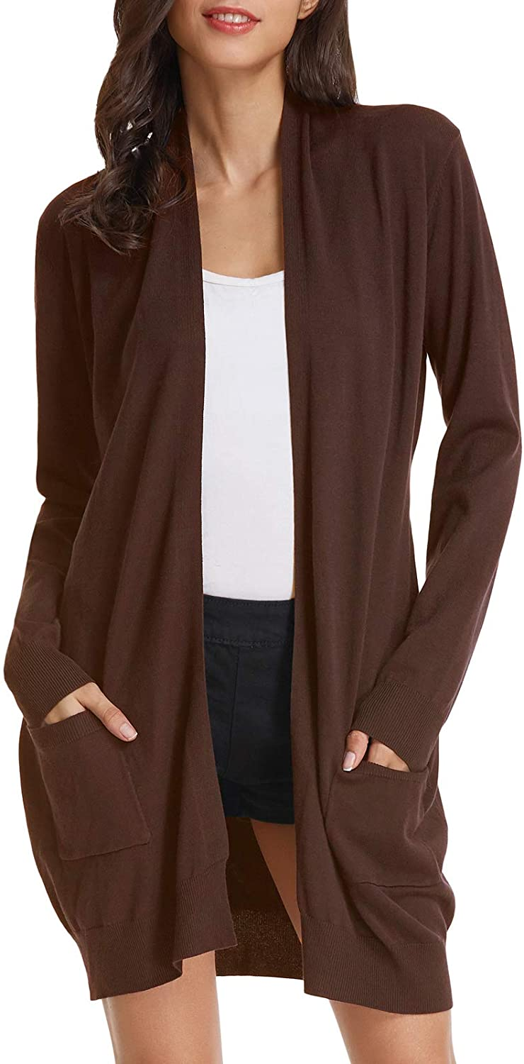 GRACE KARIN Essential Solid Open Front Long Knited Cardigan Sweater for Women