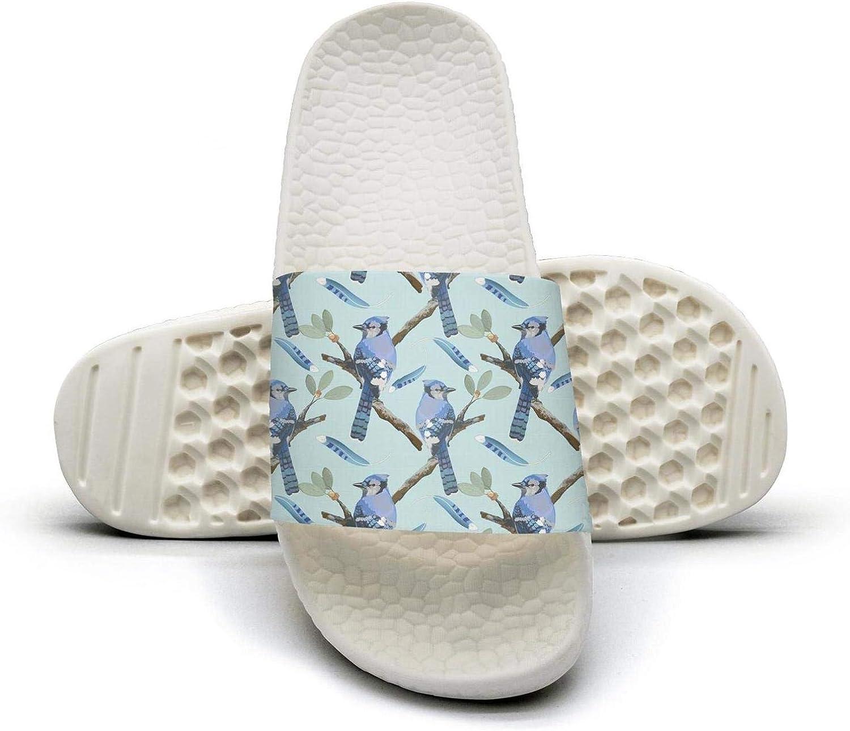 Woman Watercolor Bird Feather bluee Jay Birds Spring Slip on Beach Sandals and Anti-Slip Shower Slipper Comfort Sandals